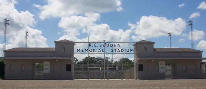front entrance to R.E. St. John Memorial Stadium in Kilgore, Texas